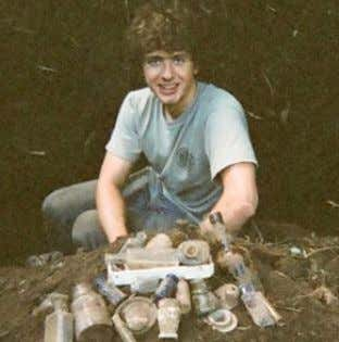 Society Below: The author poses with a hoard of 1890's bottles and artifacts excavated near McMinnville,