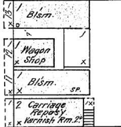 blacksmiths already dispersed throughout McMinnville. Top: C.D. Johnson's Blacksmith compound on B street as it