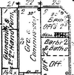 """, indicating that he also catered his business to women. This 1902 Sanborn Fire Insurance Map"