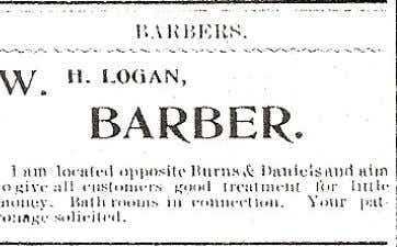 Charles Fleming (right) in front of their barber shop. Below: A late 1890's advertisement put out