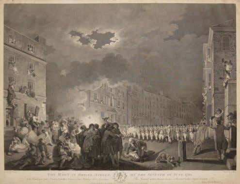 "1790 engraving of a painting, now lost, by Francis Wheatley (1747-1801), titled ""Riot in Broad"