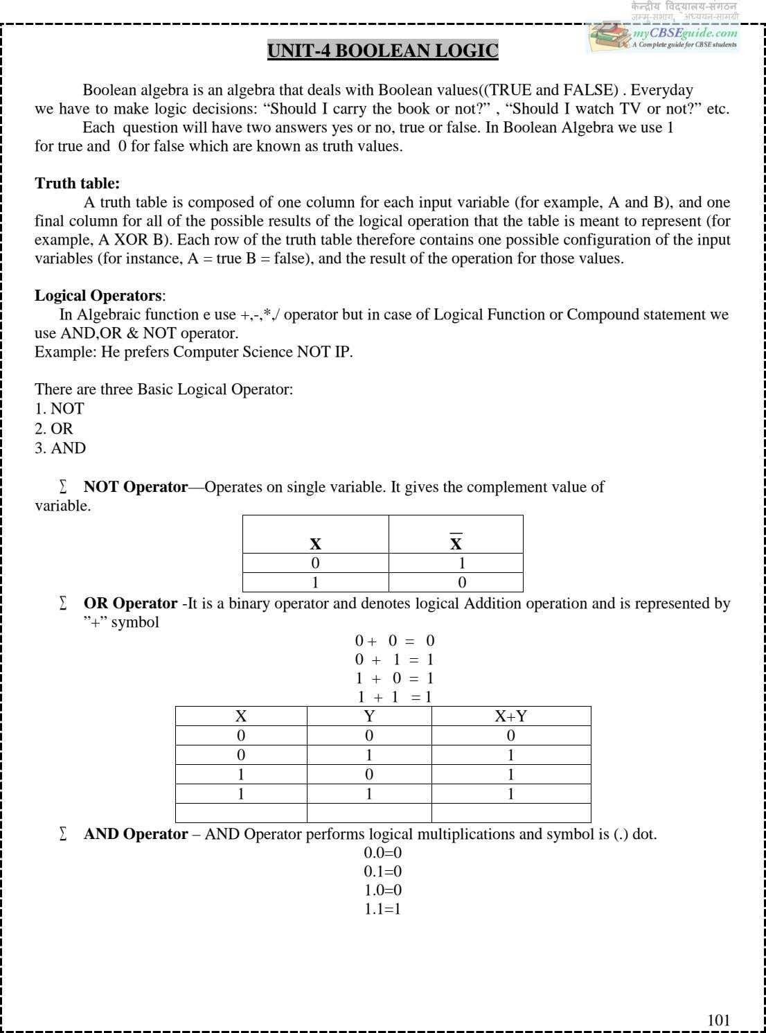 UNIT-4 BOOLEAN LOGIC Boolean algebra is an algebra that deals with Boolean values((TRUE and FALSE)
