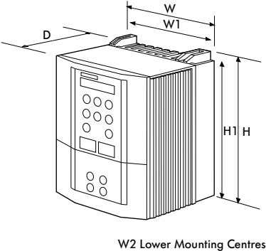 W W1 D H1 H W2 Lower Mounting Centres
