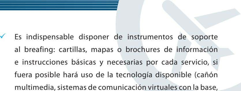  Es indispensable disponer de instrumentos de soporte al breafing: cartillas, mapas o brochures de