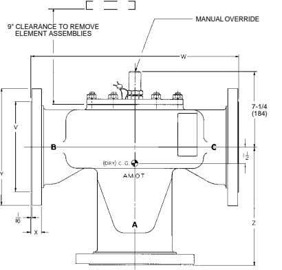 "MANUAL OVERRIDE 9"" CLEARANCE TO REMOVE ELEMENT ASSEMBLIES 7-1/4 (184)"