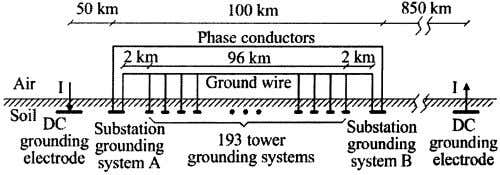 NEAR HVDC SYSTEM 705 Fig. 2. Equivalent circuit of Fig. 1. Fig. 3. Analyzed transmission line.
