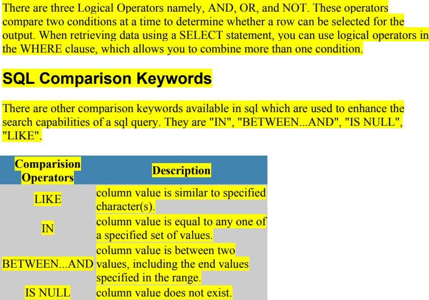 There are three Logical Operators namely, AND, OR, and NOT. These operators compare two conditions at