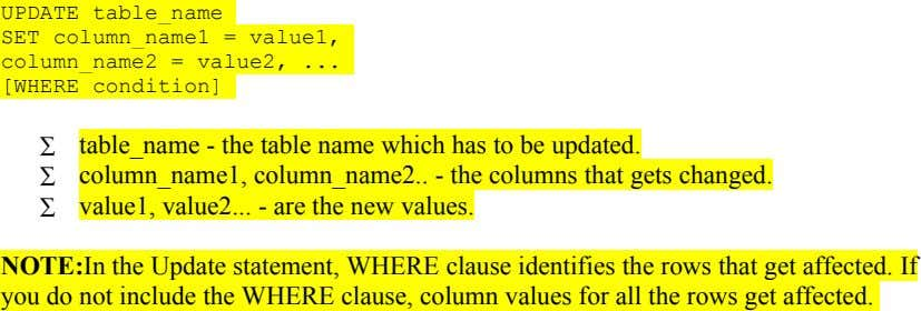 UPDATE table_name SET column_name1 = value1, column_name2 = value2, ... [WHERE condition] ∑ table_name - the