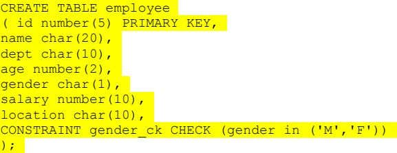CREATE TABLE employee ( id number(5) PRIMARY KEY, name char(20), dept char(10), age number(2), gender char(1),