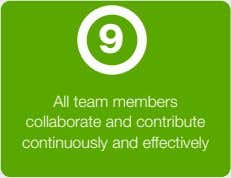 9 All team members collaborate and contribute continuously and effectively