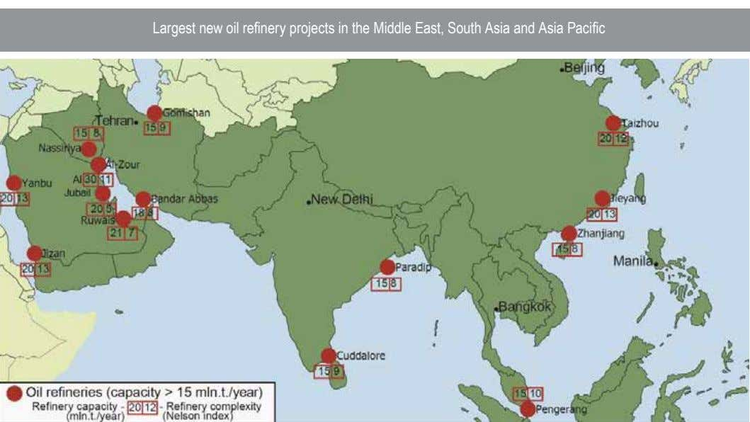 Largest new oil refinery projects in the Middle East, South Asia and Asia Pacific