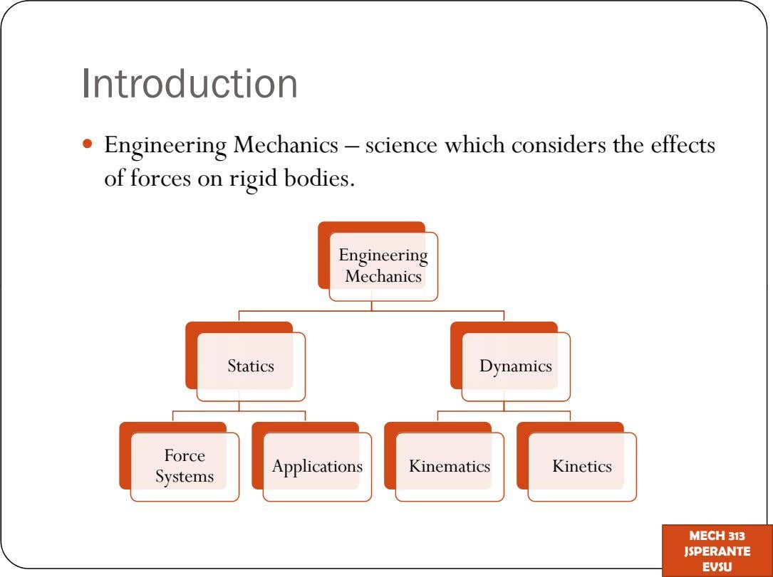Introduction Engineering Mechanics science which considers the effects of forces on rigid bodies. Engineering Mechanics Statics