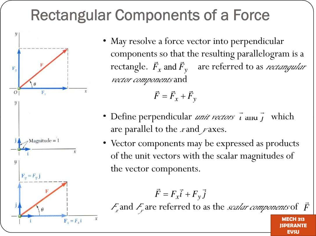 Rectangular Components of a Force May resolve a force vector into perpendicular components so that the