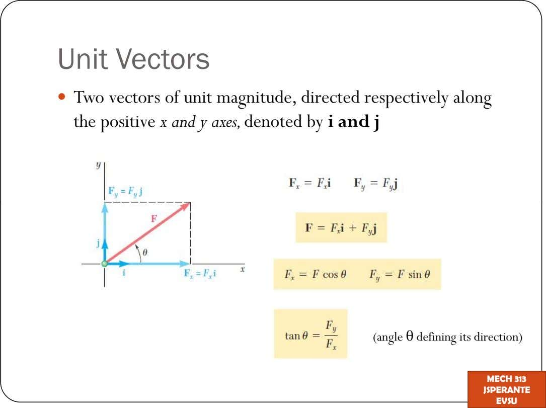 Unit Vectors Two vectors of unit magnitude, directed respectively along the positive x and y axes,denoted