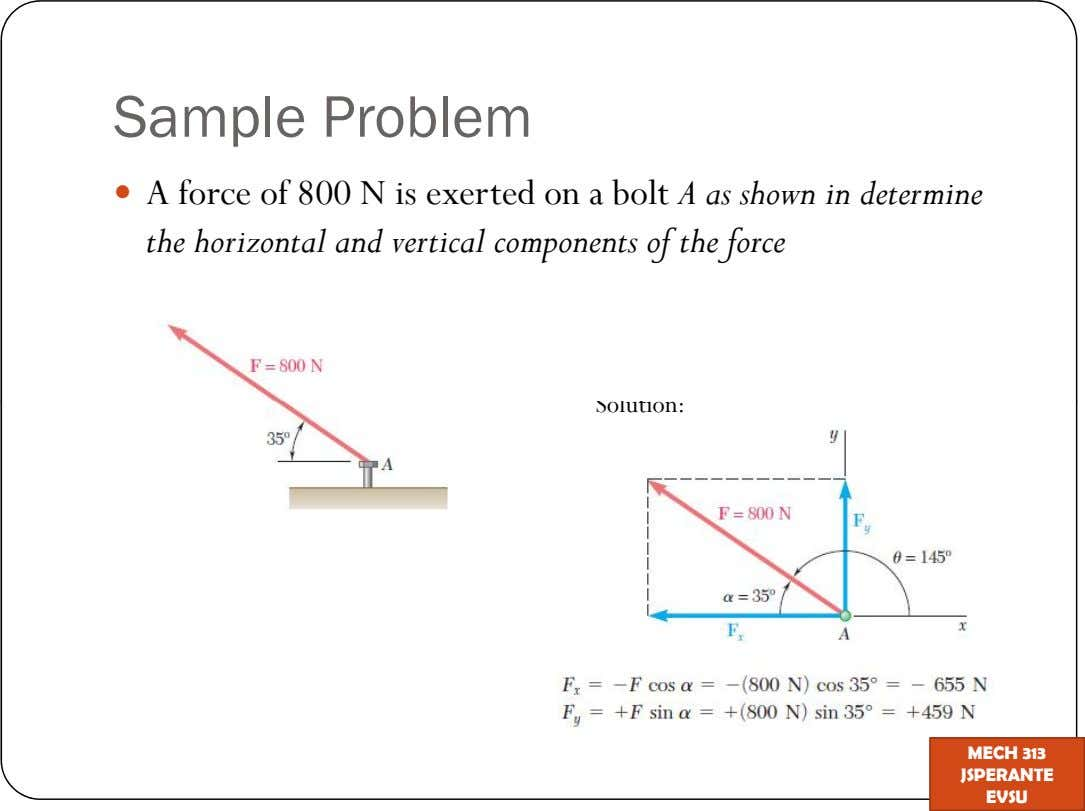Sample Problem A force of 800 N is exerted on a bolt A as shown in