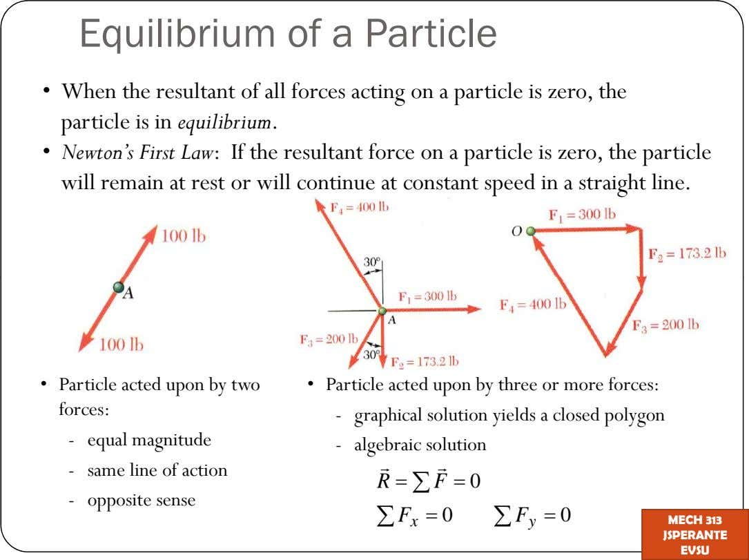 Equilibrium of a Particle When the resultant of all forces acting on a particle is zero,