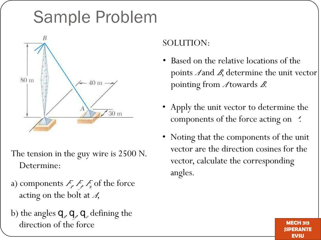 Sample Problem SOLUTION: Based on the relative locations of the points A and B, determine the