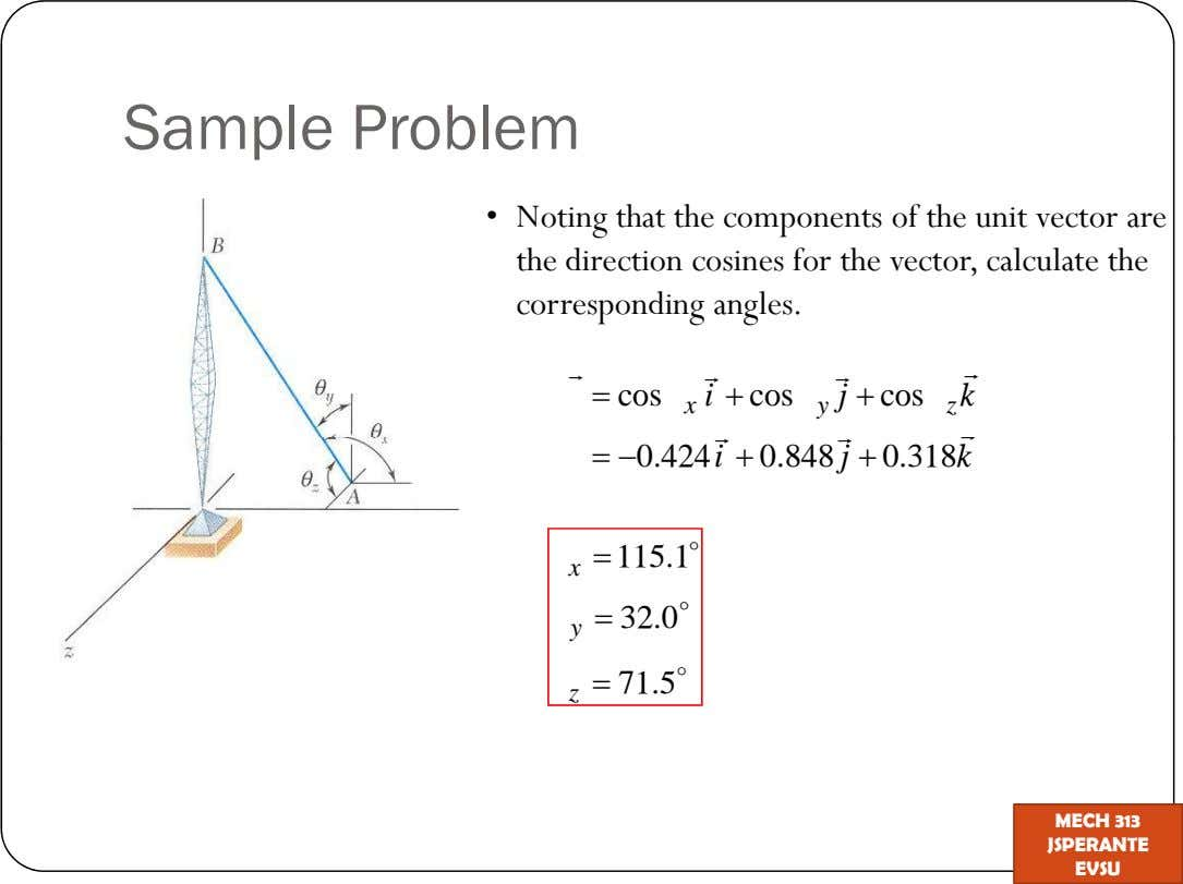 Sample Problem Noting that the components of the unit vector are the direction cosines for the