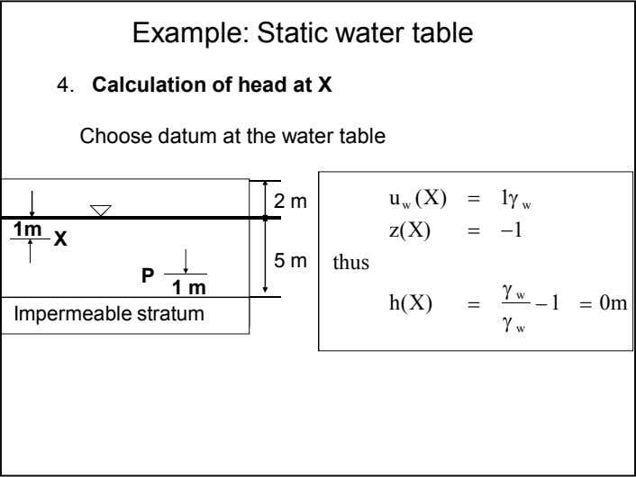 Example: Static water table 4. Calculation of head at X Choose datum at the water