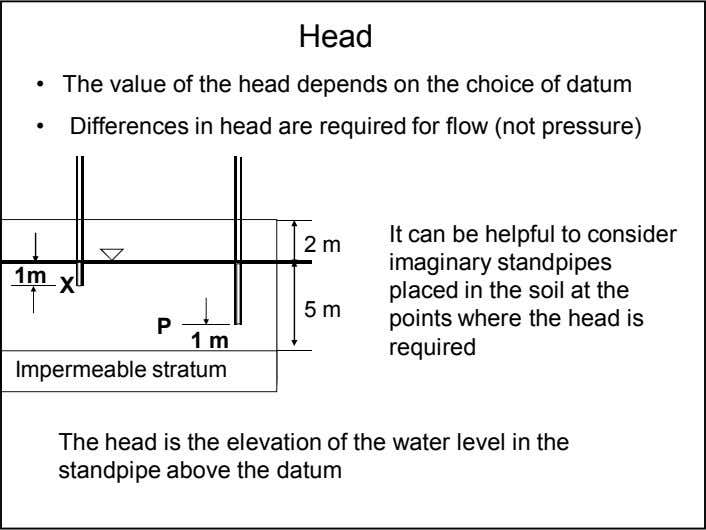 Head • The value of the head depends on the choice of datum • Differences