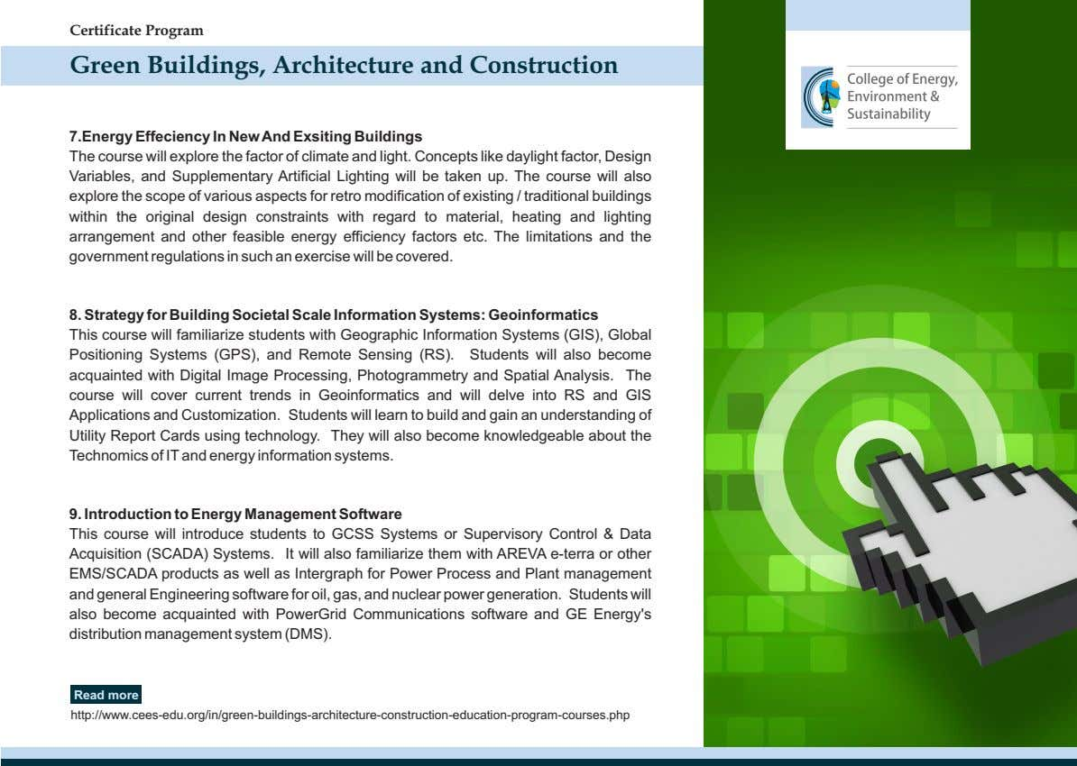 Certificate Program Green Buildings, Architecture and Construction 7.Energy Effeciency In New And Exsiting Buildings