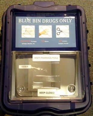 PHARMACEUTICAL WASTE MANAGEMENT DUKE UNIVERSITY HEALTH SYSTEM BLUE BIN DRUGS ONLY NO EMPTY Packages, NO Gloves