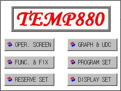 Occurred] [System Setting] [Initial Screen] [Main Screen] [Program Set] [Password Setting] 1st Edition of TEMP880(Eng)