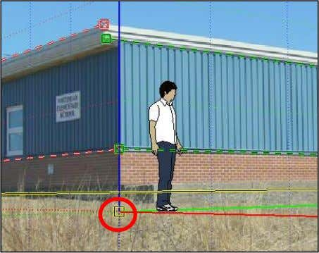 red and green lines) to the bottom corner of the building. 4. Lastly, click on the