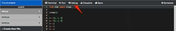 "file, and click the ""Debug"" link in the toolbar: Once you've clicked the link, the toolbar"