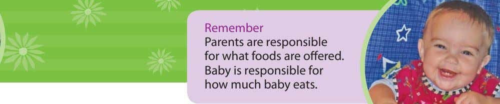 Remember Parents are responsible for what foods are offered. Baby is responsible for how much