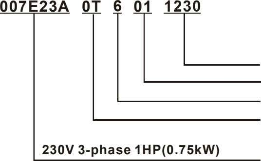 007E23A 0T 6 01 230V 3-phase 1HP(0.75kW)