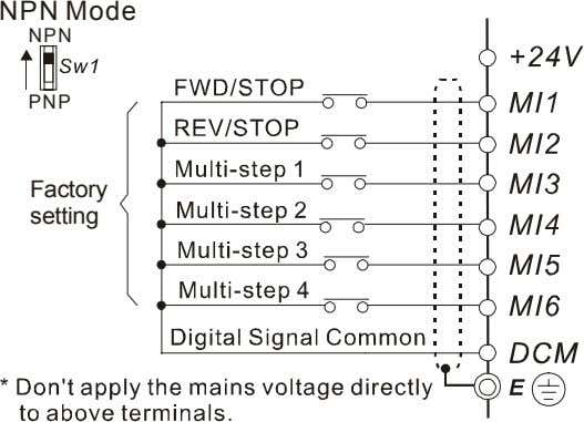NPN Mode NPN PNP Factory setting