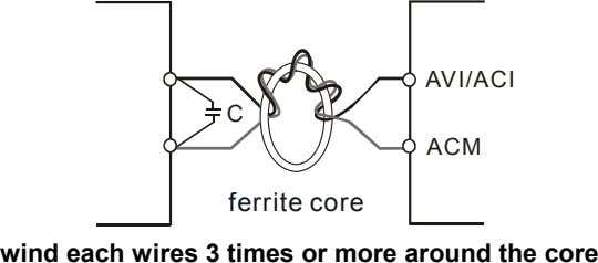 AVI/ACI C ACM ferrite core wind each wires 3 times or more around the core