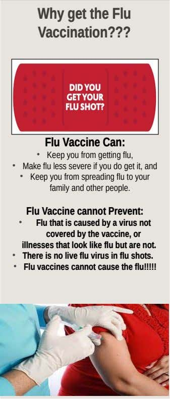 Why get the Flu Vaccination??? Flu Vaccine Can: • Keep you from getting flu, •
