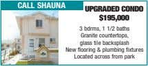call shauna upgraded condo $195,000 3 bdrms, 1 1/2 baths Granite countertops, glass tile backsplash