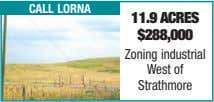 call lorna 11.9 acres $288,000 Zoning industrial West of Strathmore