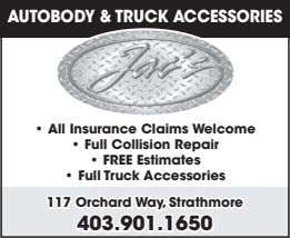 AUTOBODY & TRUCK ACCESSORIES • All Insurance Claims Welcome • Full Collision Repair • FREE