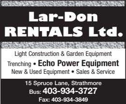 Lar-Don RentaLs Ltd. Light Construction & Garden Equipment Trenching • Echo Power Equipment New &