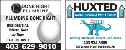 huxted PLUMBING Waste Disposal & Port-A-Potties Plumbing done Right Residential Toilets, Tubs or Taps Serving