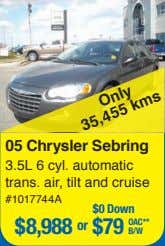 05 Chrysler Sebring 3.5L 6 cyl. automatic trans. air, tilt and cruise #1017744A $0 Down