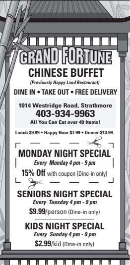 ChInESE buffET (Previously Happy Land Restaurant) DInE In • TAkE OuT • fREE DElIvERY 1014