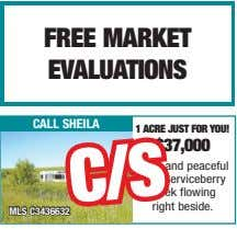 free marKeT evalUaTionS call sheila 1 aCre jUST for yoU! $37,000 Quiet and peaceful with