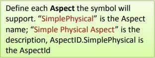 "Define each Aspect the symbol will support. ""SimplePhysical"" is the Aspect name; ""Simple Physical Aspect"""