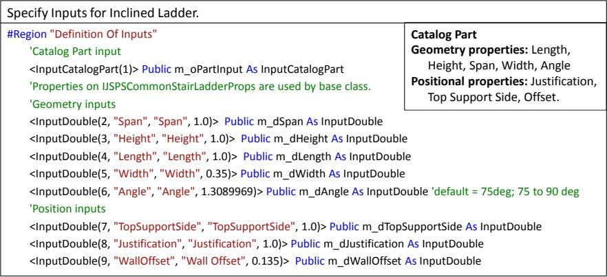 "Specify Inputs for Inclined Ladder. #Region ""Definition Of Inputs"" 'Catalog Part input"