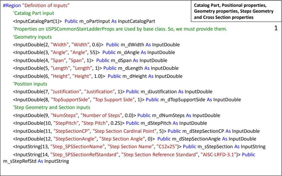 "#Region ""Definition of Inputs"" 'Catalog Part input Catalog Part, Positional properties, Geometry"