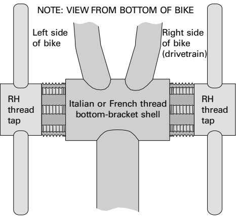 NOTE: VIEW FROM BOTTOM OF BIKE Left side Right side of bike of bike (drivetrain)