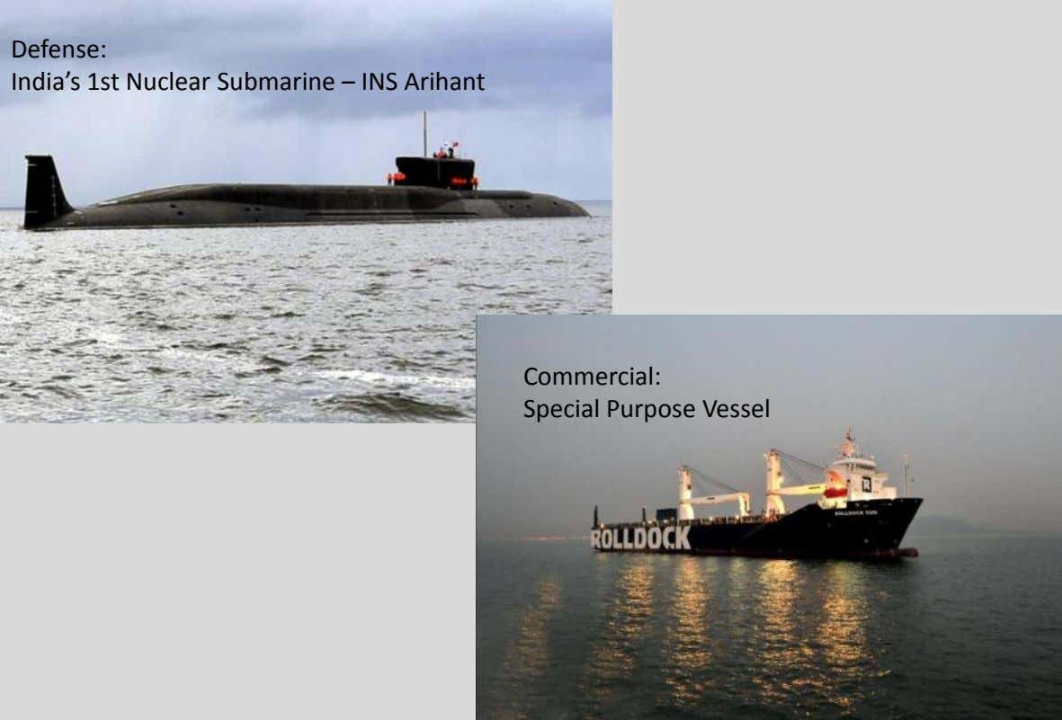 Defense: India's 1st Nuclear Submarine – INS Arihant Commercial: Special Purpose Vessel 012 Larsen &
