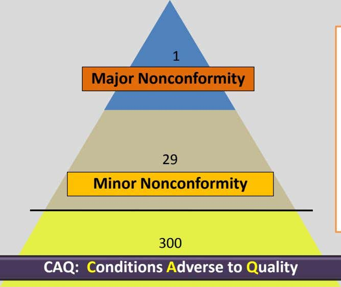 1 Major Nonconformity 29 Minor Nonconformity 300 Near Misses CAQ: Conditions Adverse to Quality