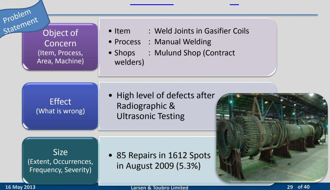 • : Weld Joints in Gasifier Coils Item Object of Concern • : Manual Welding
