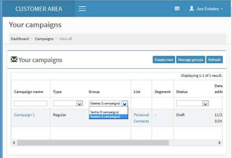 grow, you will have a smaller list of campaigns to view. C. Templates > Templates menu